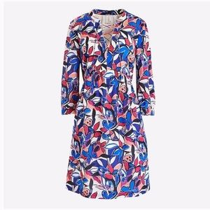 J crew h4528 lace up butterfly printed dress LG